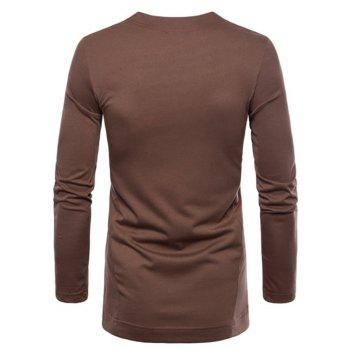 Casual Irregular Hem T-shirt with Buttons - DEEP COFFEE 2XL