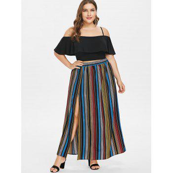 Plus Size Flounce Cami top and Striped Maxi Skirt - BLACK 5X