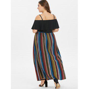 Plus Size Flounce Cami top and Striped Maxi Skirt - BLACK L