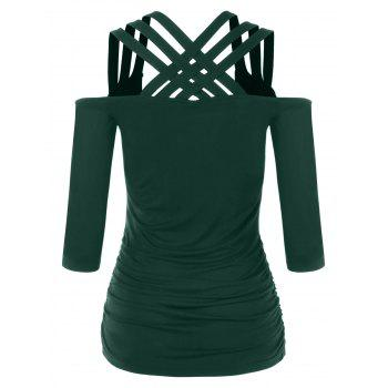 Lattice Cut Cold Shoulder T-shirt - MEDIUM SEA GREEN L