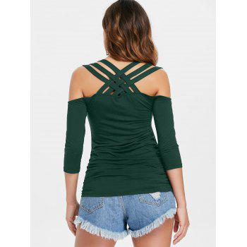 Lattice Cut Cold Shoulder T-shirt - MEDIUM SEA GREEN M