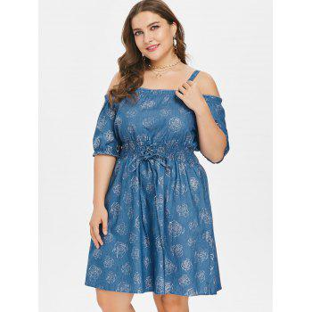 Lace Up Plus Size Rose Print Mini Dress - DENIM BLUE 3X