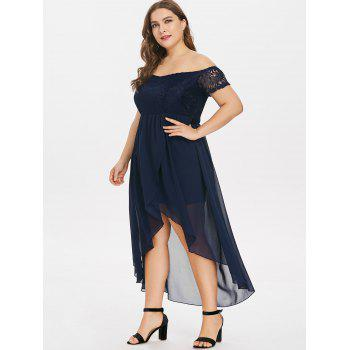 Plus Size Lace Insert Off The Shoulder Dress - MIDNIGHT BLUE L