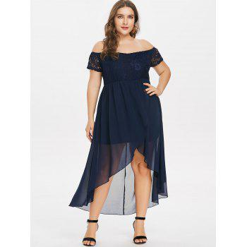 Plus Size Lace Insert Off The Shoulder Dress - MIDNIGHT BLUE 4X