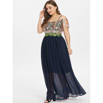 Plus Size Embroidery Spaghetti Strap Dress - CADETBLUE 3X