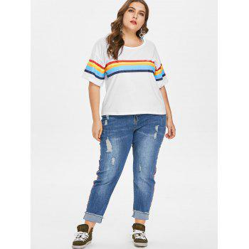 Plus Size Round Collar Striped Tee - MILK WHITE 3X