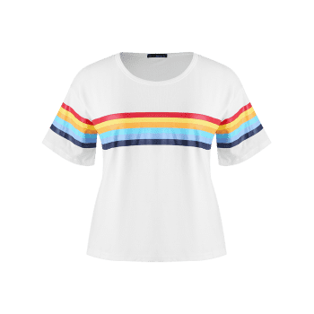 Plus Size Round Collar Striped Tee - MILK WHITE 4X
