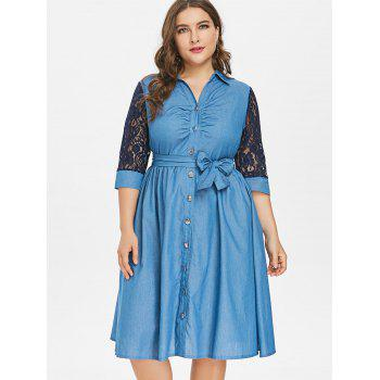 2018 Plus Size Belted Button Up Denim Dress Denim Dark Blue X In