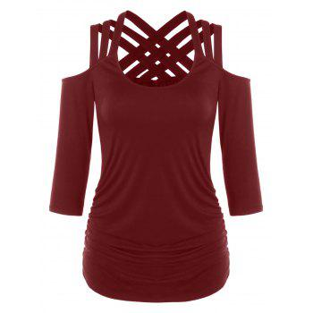 Lattice Cut Cold Shoulder T-shirt - RED WINE 2XL
