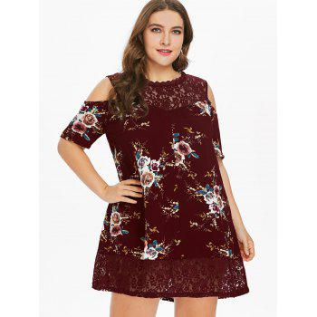 Plus Size Flower Lace Tunic Dress - RED WINE 1X