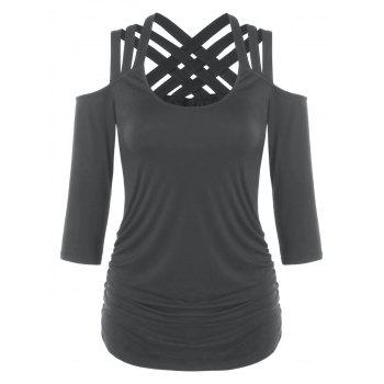 Lattice Cut Cold Shoulder T-shirt - DARK GRAY XL