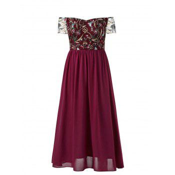 Elastic Waist Plus Size Embroidery Maxi Dress - RED 4X