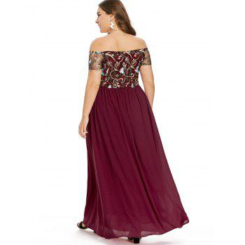 Elastic Waist Plus Size Embroidery Maxi Dress - RED 5X