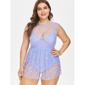 Plus Size One-piece Polka Dot Swimwear - MAUVE 4XL