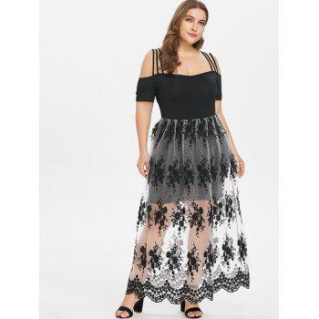 Plus Size Embroidery See Thru Strappy Dress - BLACK L