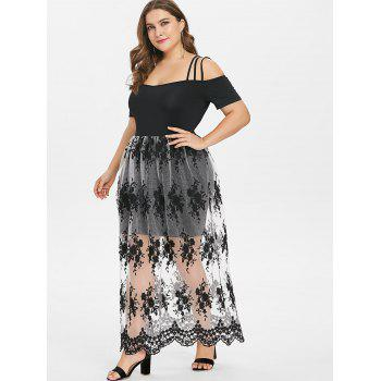Plus Size Embroidery See Thru Strappy Dress - BLACK 2X
