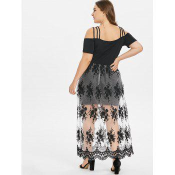 Plus Size Embroidery See Thru Strappy Dress - BLACK 4X