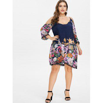 Plus Size Cold Shoulder Flower Dress - DARK SLATE BLUE 3X