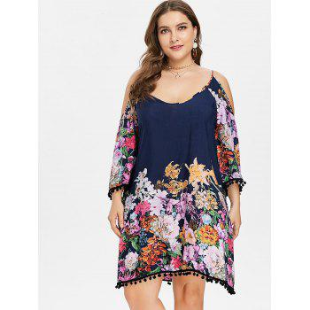 Plus Size Cold Shoulder Flower Dress - DARK SLATE BLUE 5X