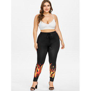 Plus Size Flame Pattern Hem Leggings - BLACK 2X
