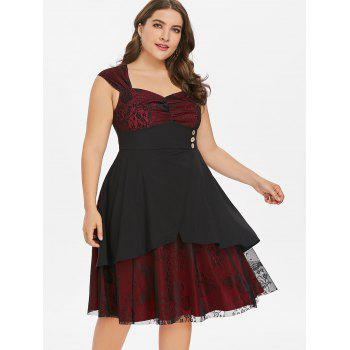 Plus Size Sweetheart Neck A Line Dress - RED WINE 2X