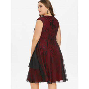 Plus Size Sweetheart Neck A Line Dress - RED WINE 3X