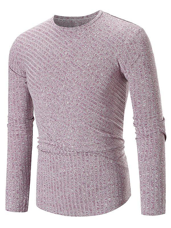 Solid Color Texture Splicing Long Sleeve T-shirt - PURPLE 2XL