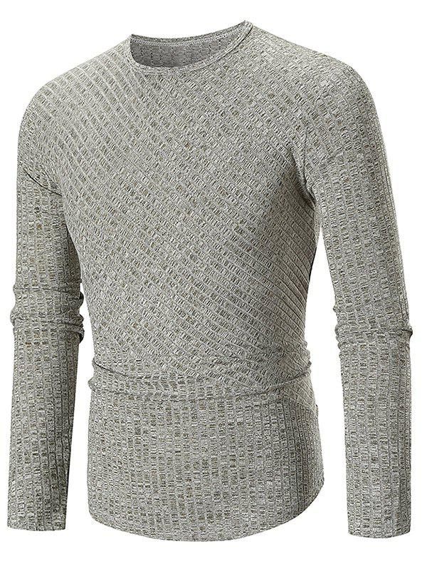 Solid Color Texture Splicing Long Sleeve T-shirt - GREEN M