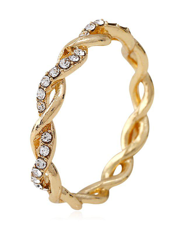 Rhinestone Decoration Twist Ring - GOLD 9
