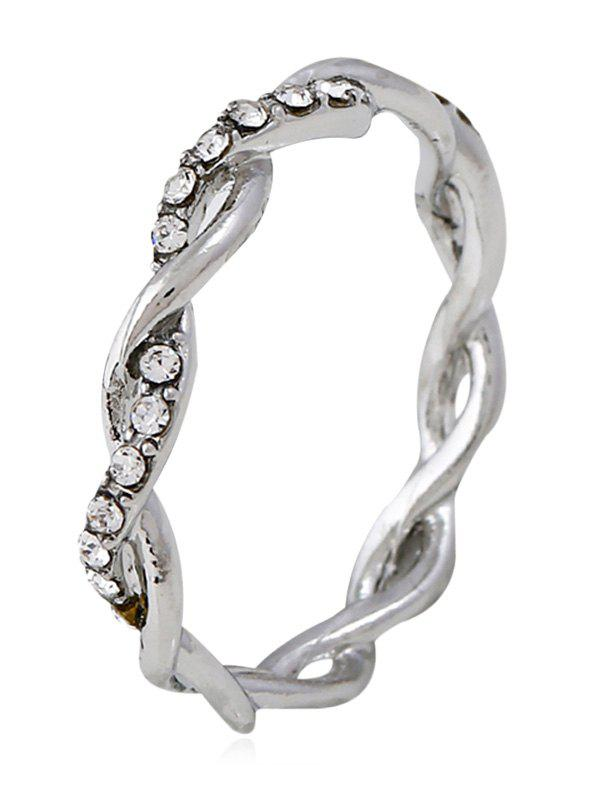 Rhinestone Decoration Twist Ring - SILVER 10