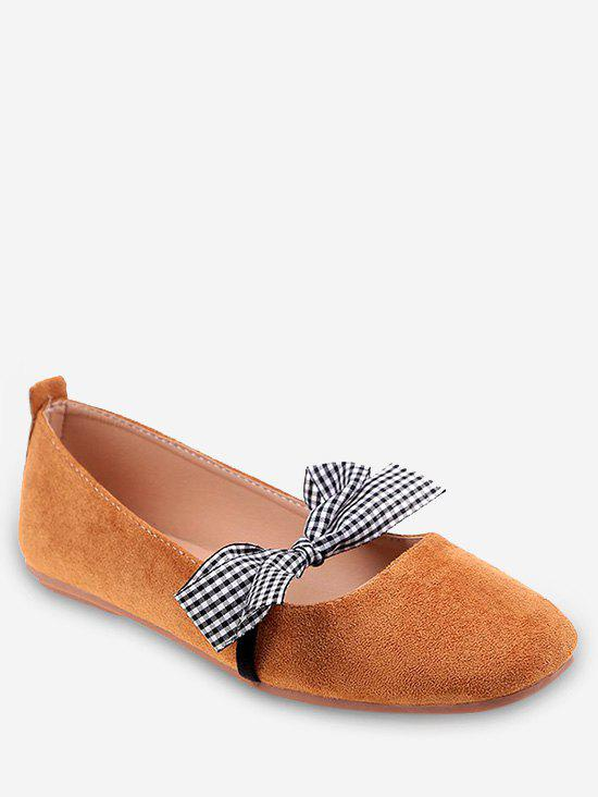 Casual Shopping Bowknot Plaid Chic Flats - BEE YELLOW 35
