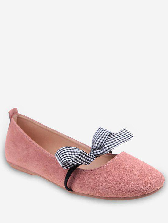 Casual Shopping Bowknot Plaid Chic Flats - LIGHT PINK 39