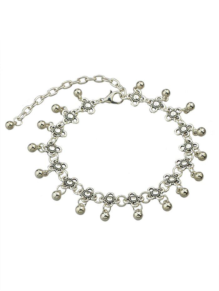 Floral Chain Anklet With Bell - SILVER