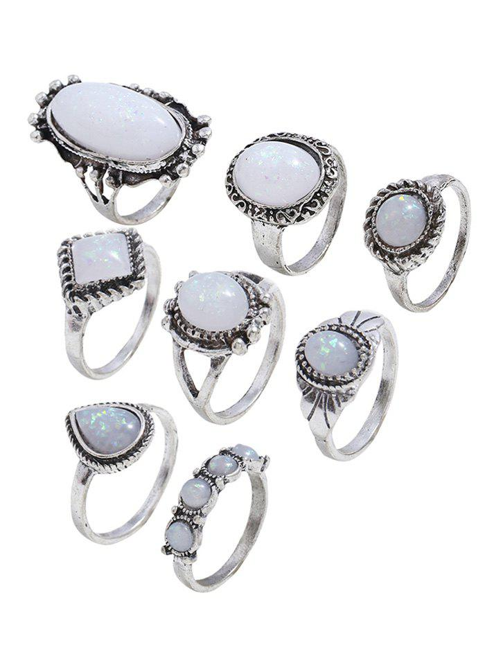 Retro Geometric Shape Faux Gem Ring Set - SILVER