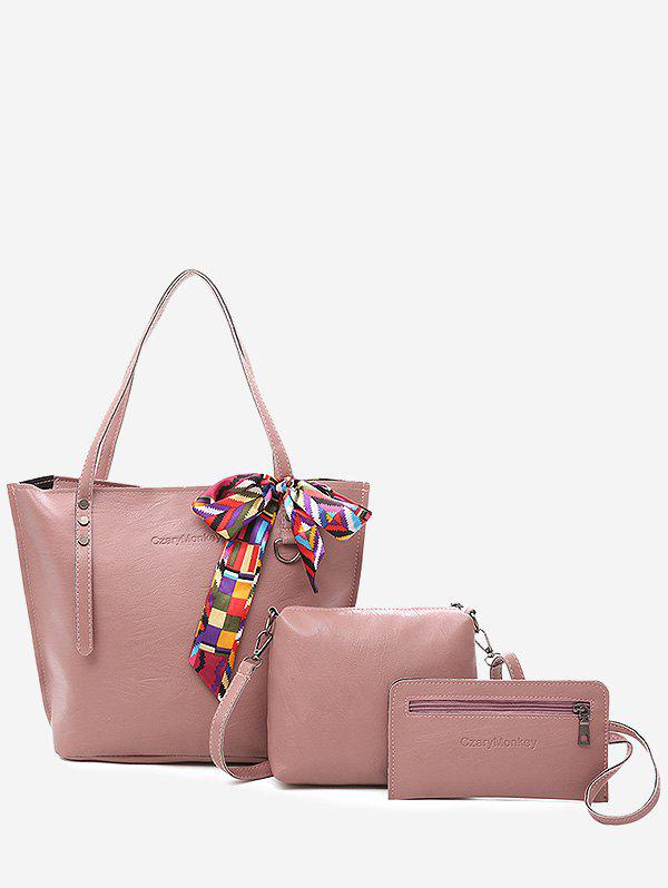 Casual Vacation Minimalist Bow 3 Pieces Shoulder Bag Set - LIGHT PINK