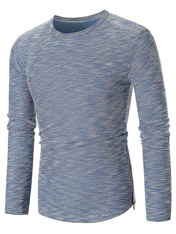 Hem Zipper Curved Long Sleeve T-shirt - BLUE 3XL