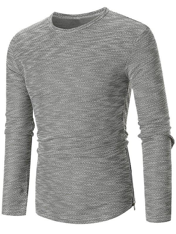 Hem Zipper Curved Long Sleeve T-shirt - LIGHT GRAY L