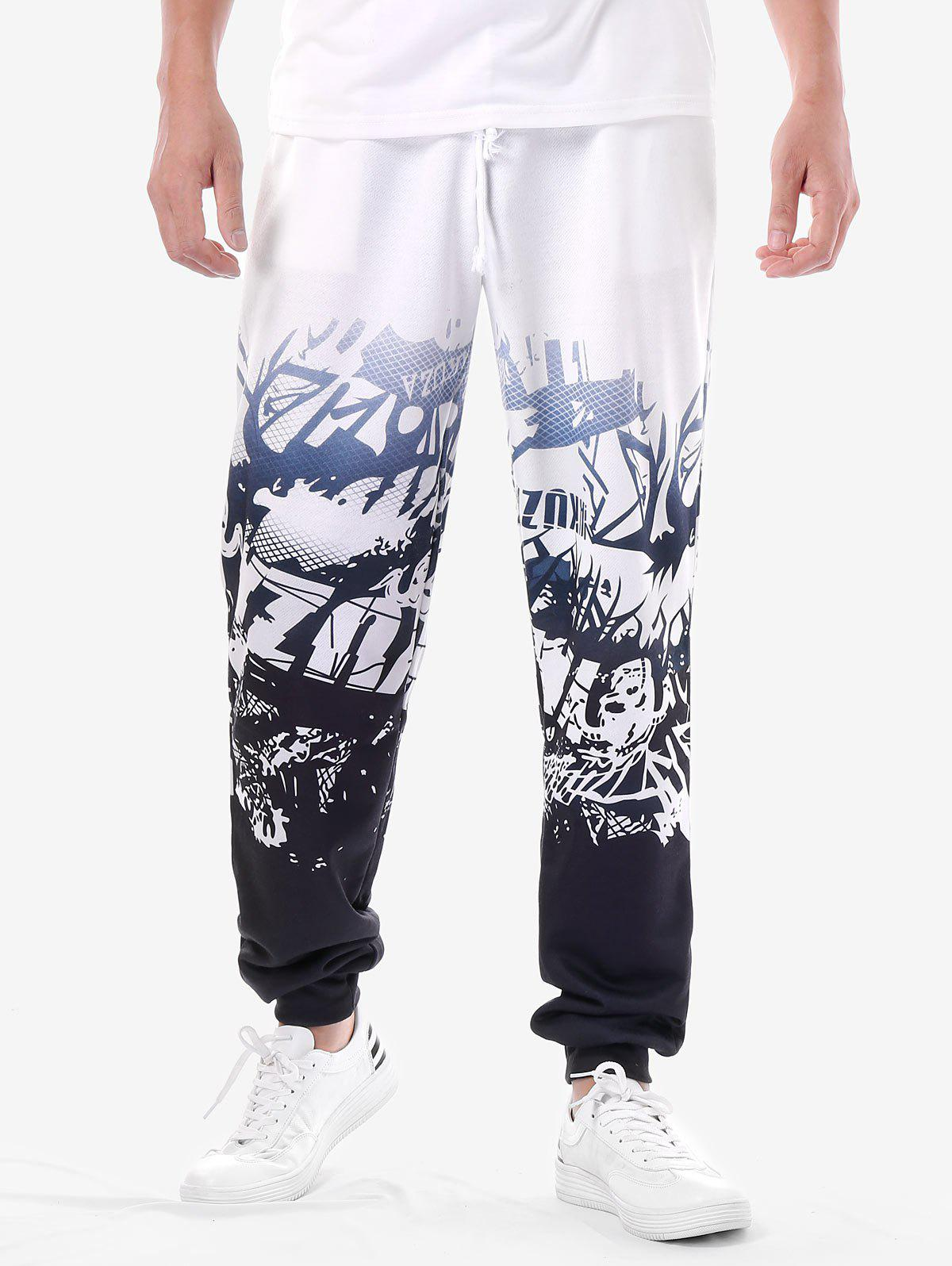 High Rise Drawstring Printed Jogger Pants - WHITE 2XL
