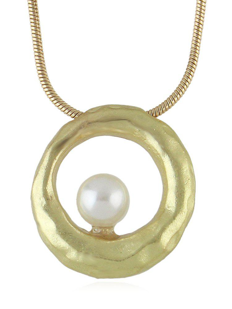 Faux Pearl Decoration Circle Necklace - GOLD