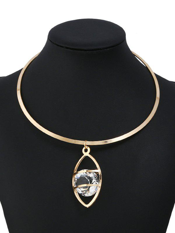Rhinestone Eye Shape Hollow Out Metal Necklace - GOLD