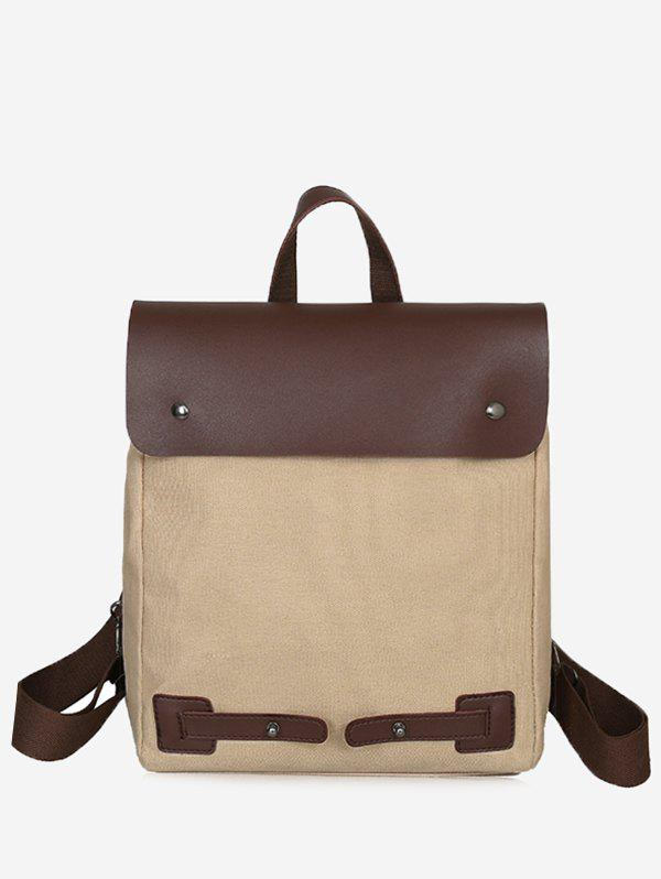 Top Handle Contrasting Color Chic Travel Backpack - LIGHT KHAKI