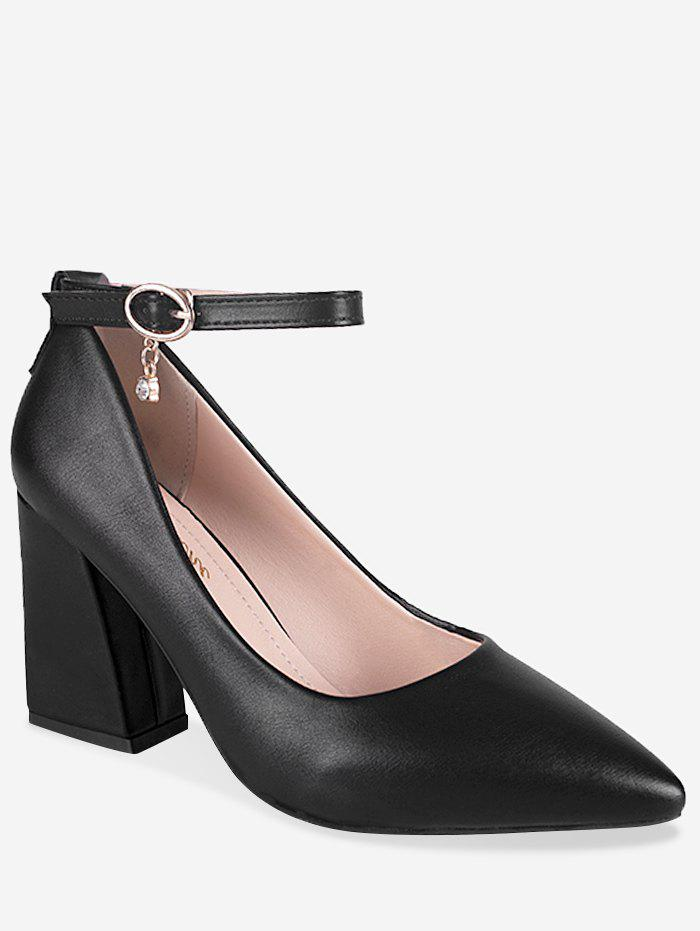 Chunky Heel Buckled Chic Pointed Toe Party Pumps - BLACK 37