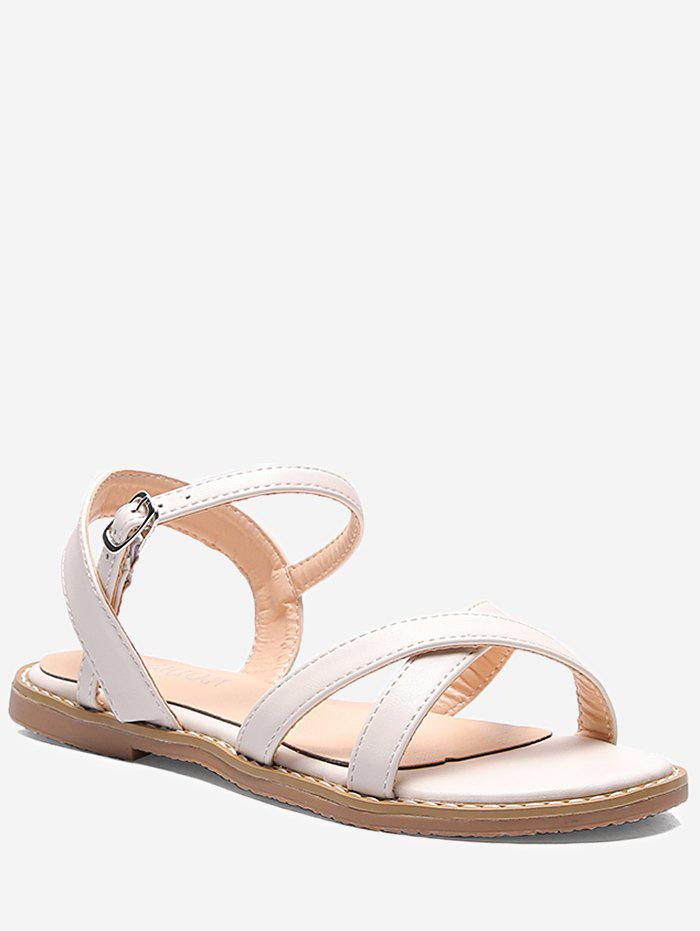 Chic Crisscross Outdoor Flat Heel Slingback Sandals - WHITE 38