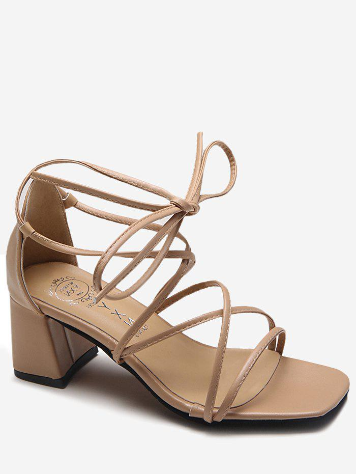 Mid Heel Crisscross Leisure Ankle Strap Sandals - APRICOT 37