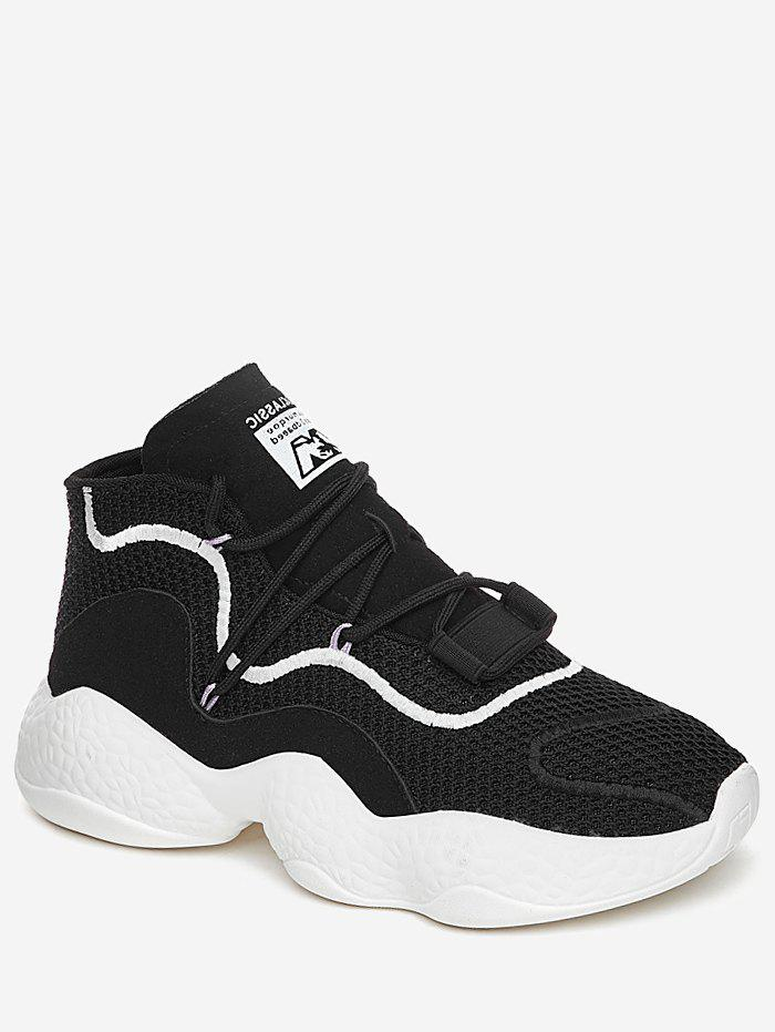 High Top Color Block Breathable Athletic Gym Shoes - BLACK 35