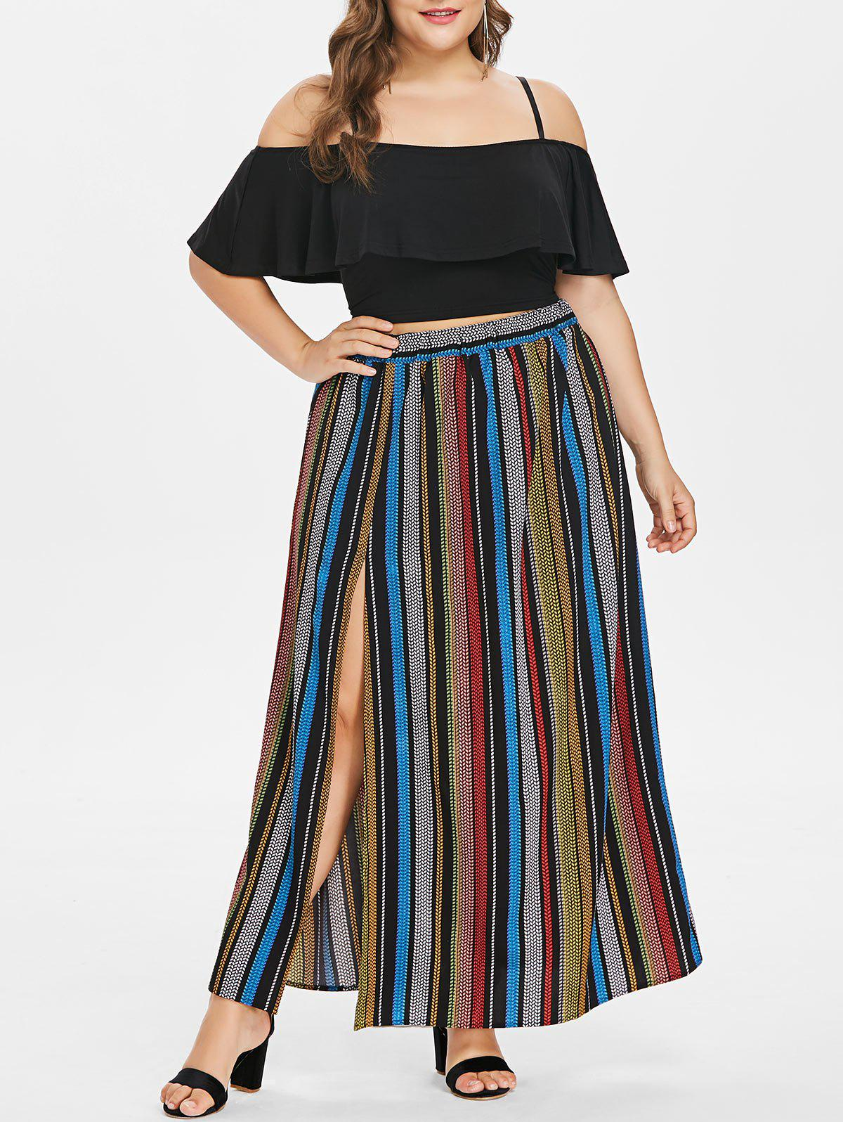 Plus Size Flounce Cami top and Striped Maxi Skirt - BLACK 2X