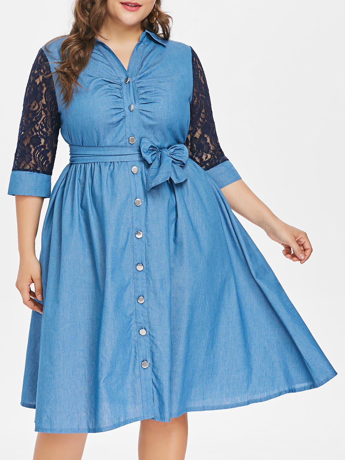 Plus Size Belted Button Up Denim Dress - DENIM DARK BLUE 1X