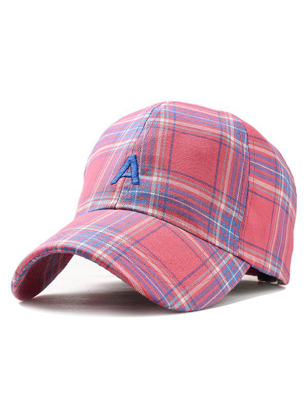 Letter A Embroidery Plaid Trucker Hat - ROSE RED