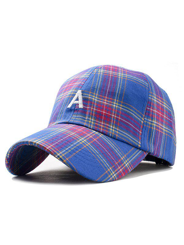 Letter A Embroidery Plaid Trucker Hat - BLUE
