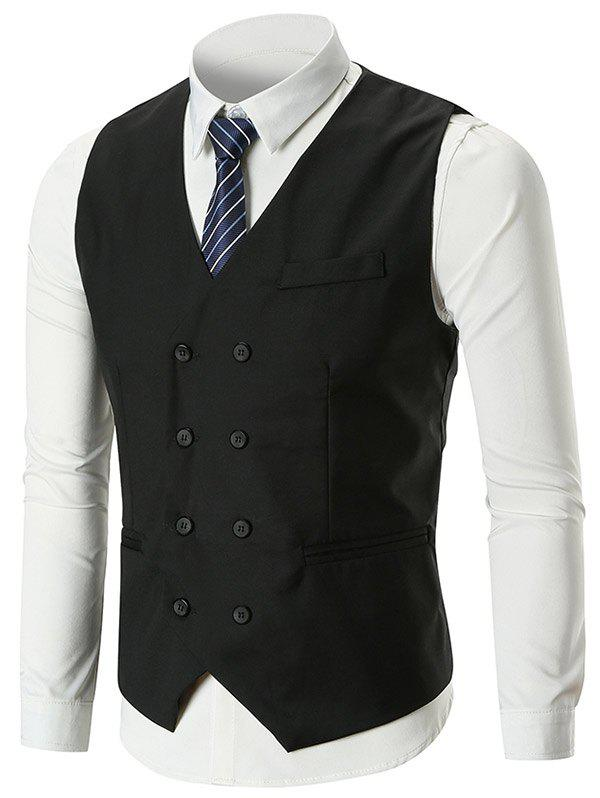 Belt Design Double Breasted Slim Fit Waistcoat - BLACK M